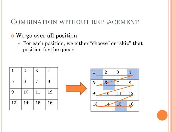 Combination without replacement