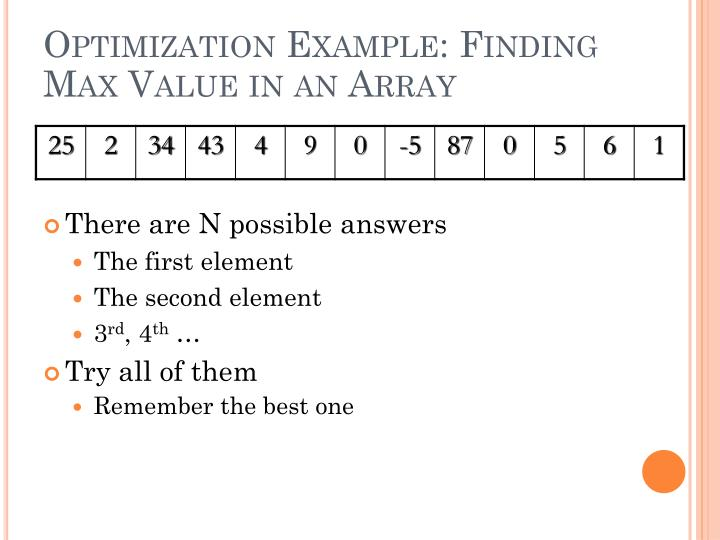 Optimization example finding max value in an array