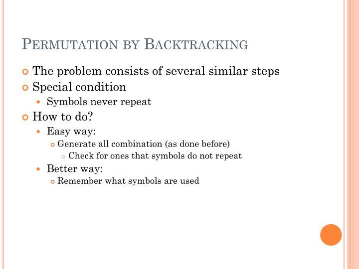 Permutation by Backtracking