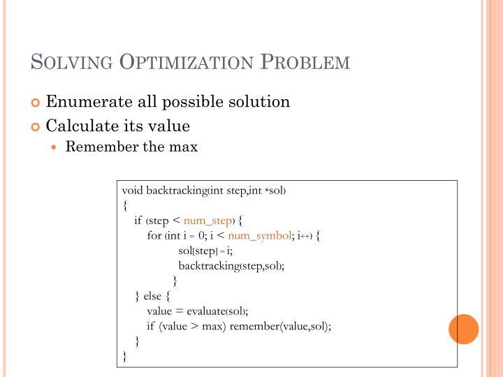 Solving Optimization Problem