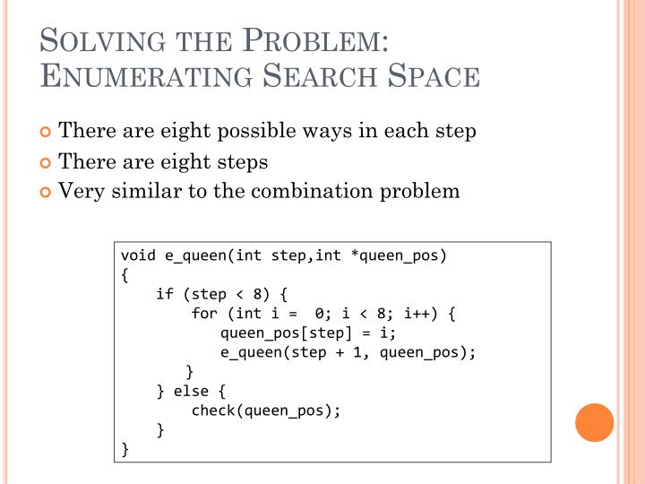 Solving the Problem: Enumerating Search Space