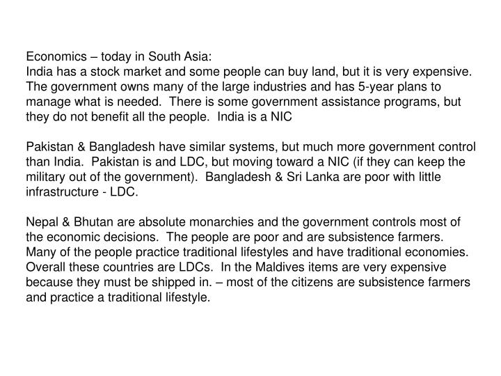Economics – today in South Asia: