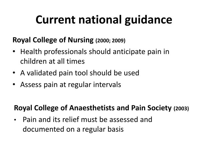Current national guidance