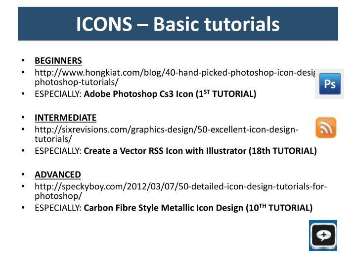 ICONS – Basic tutorials