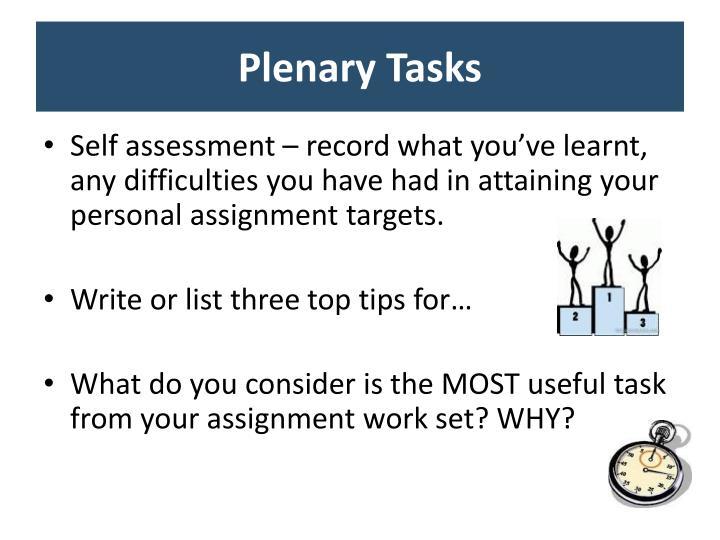 Plenary Tasks