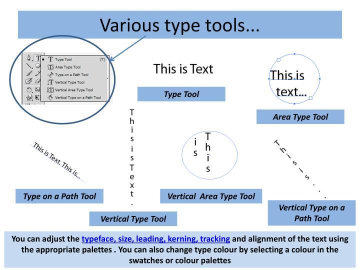 Various type tools...