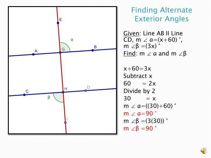 Finding Alternate Exterior Angles