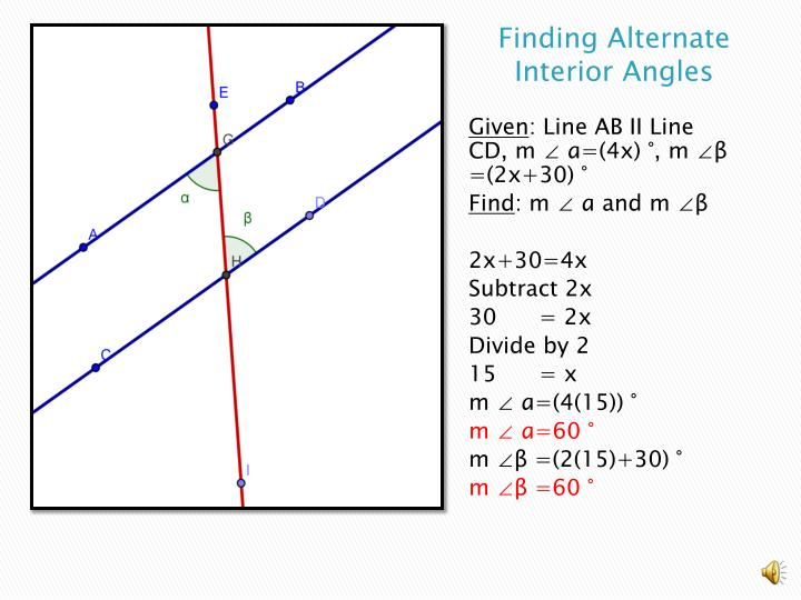 Finding Alternate Interior Angles