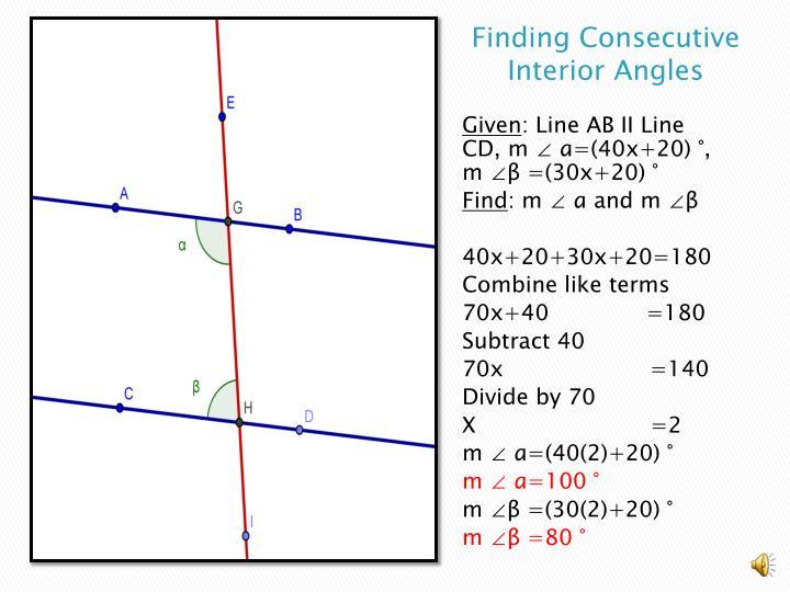 Finding Consecutive Interior Angles