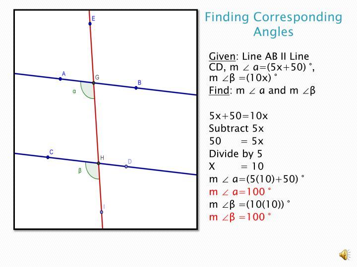 Finding corresponding angles