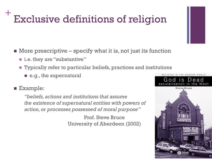 Exclusive definitions of religion