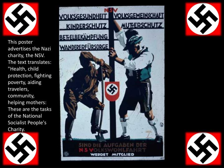 """This poster advertises the Nazi charity, the NSV. The text translates: """"Health, child protection, fi..."""