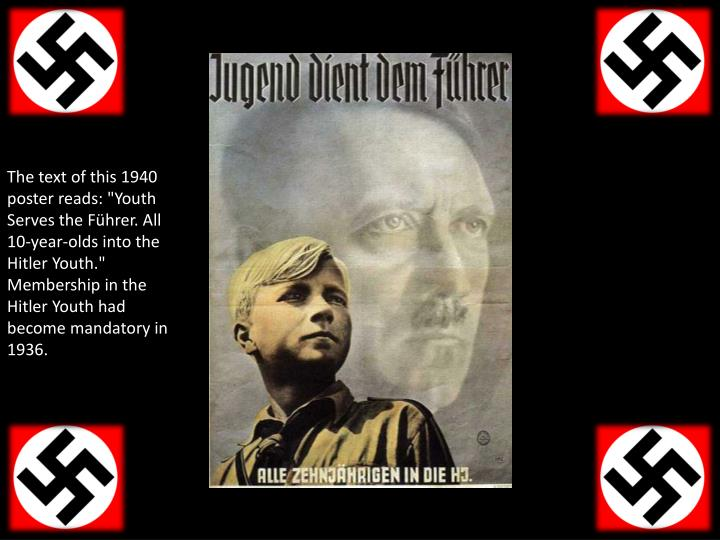 """The text of this 1940 poster reads: """"Youth Serves the Führer. All 10-year-olds into the Hitler Youth."""" Membership in the Hitler Youth had become mandatory in 1936."""