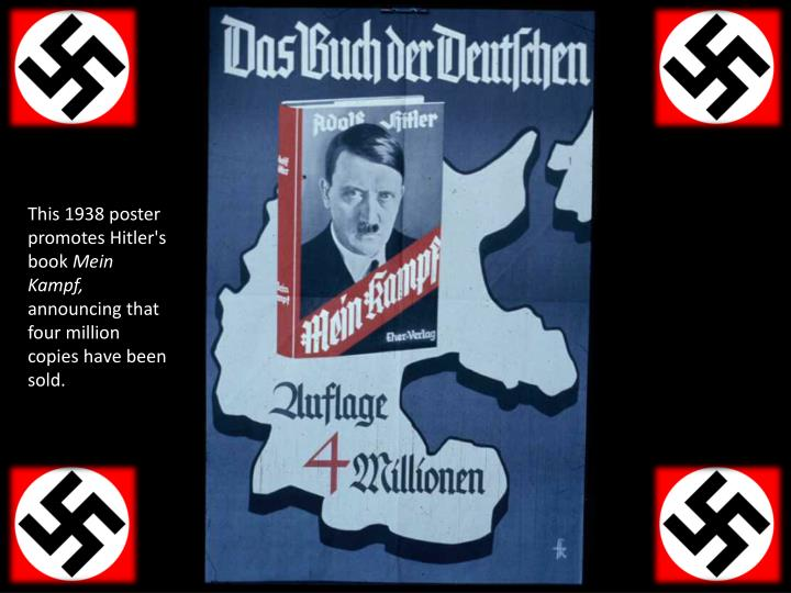 This 1938 poster promotes Hitler's book