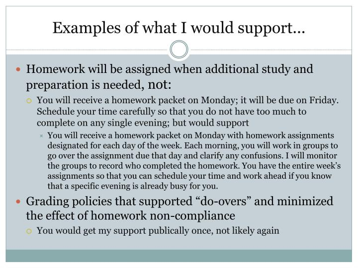 Examples of what I would support...