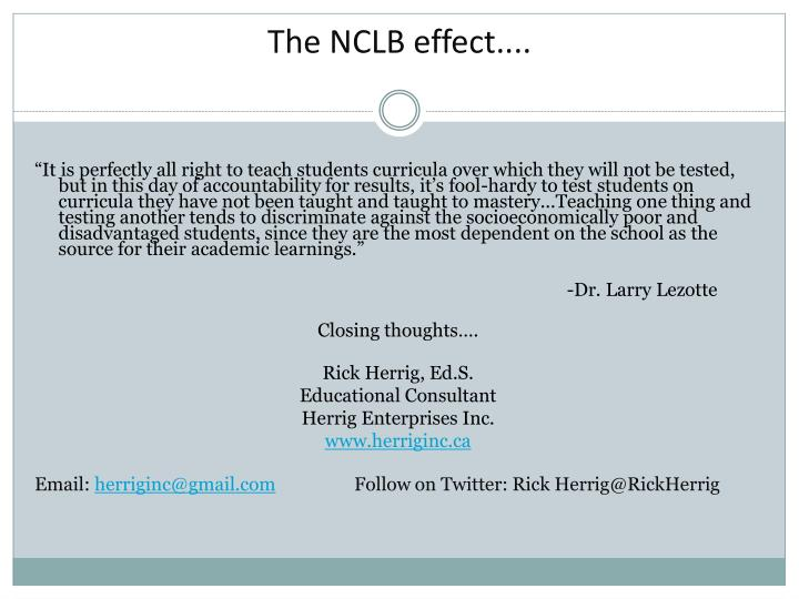 The NCLB effect....