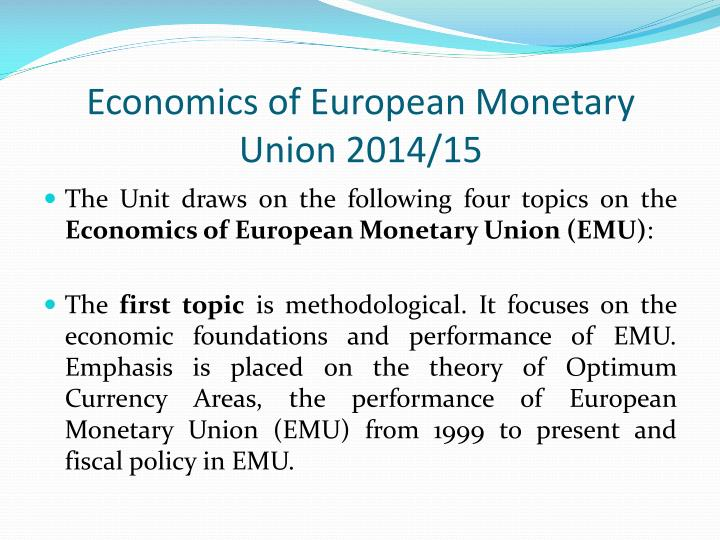 the implications of the european monetary union essay Reforming the european monetary union to policy plays a central role in this narrative and leads to four policy implications for emu in this essay.