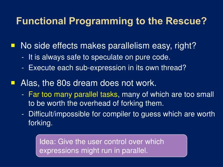 Functional Programming to the Rescue?