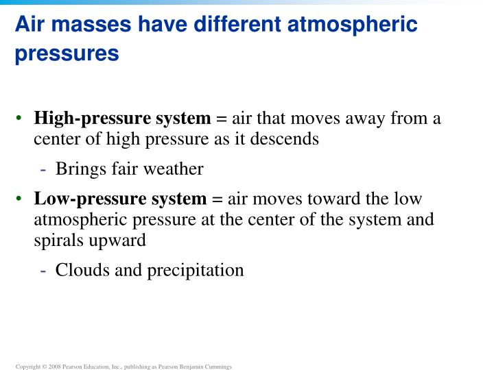 Air masses have different atmospheric pressures