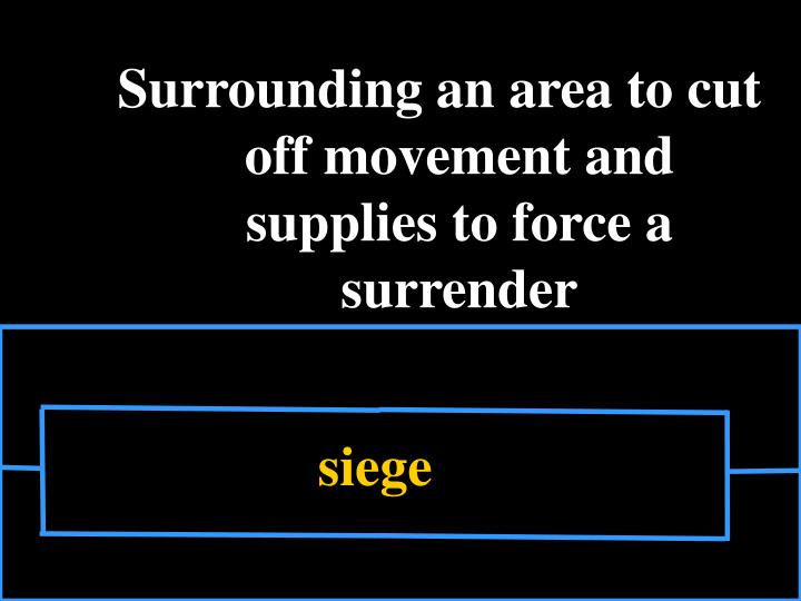 Surrounding an area to cut off movement and supplies to force a surrender