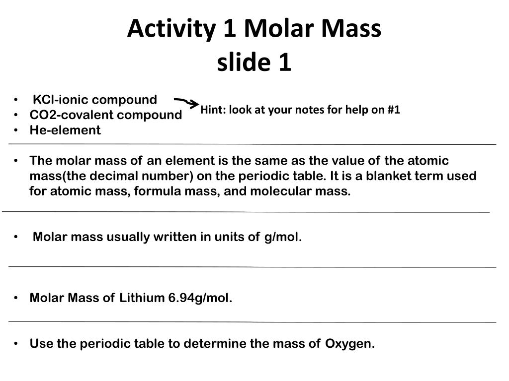 Ppt Activity 1 Molar Mass Slide 1 Powerpoint Presentation Id2674303