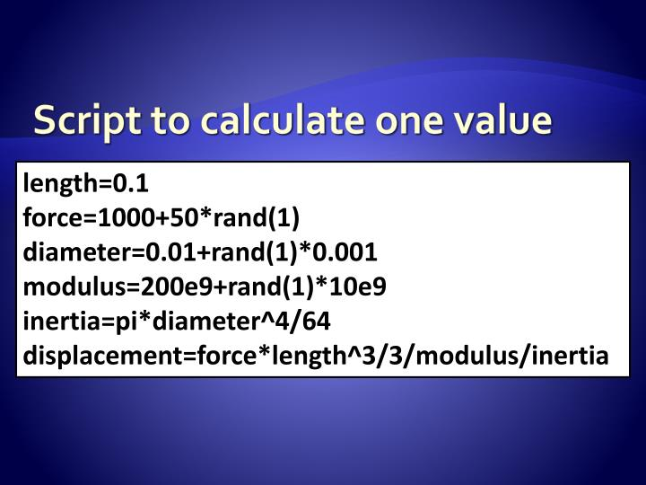 Script to calculate one value