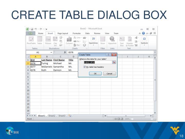 Create table dialog box