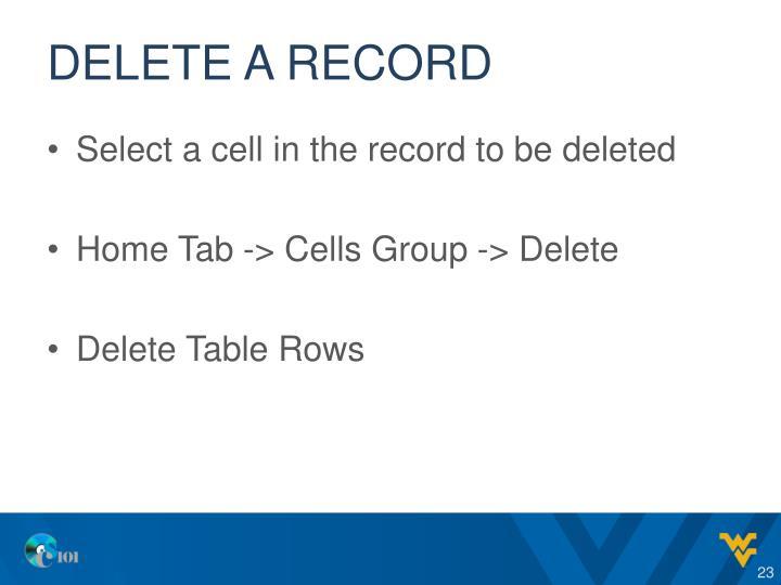 Delete a record