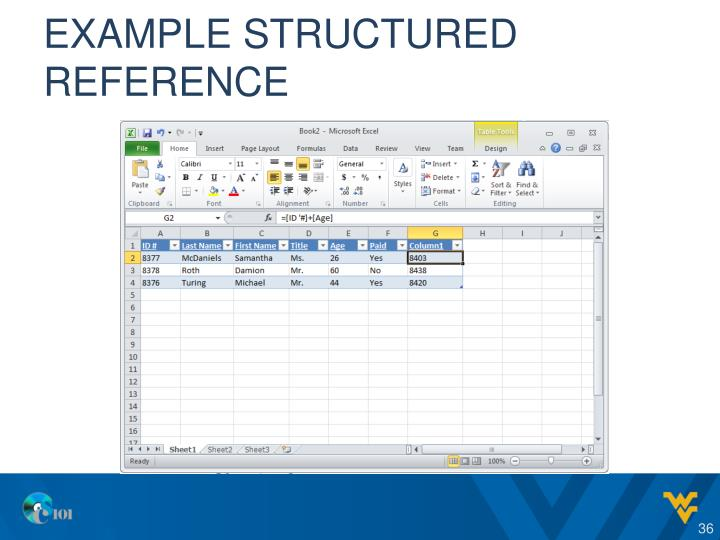 Example structured reference
