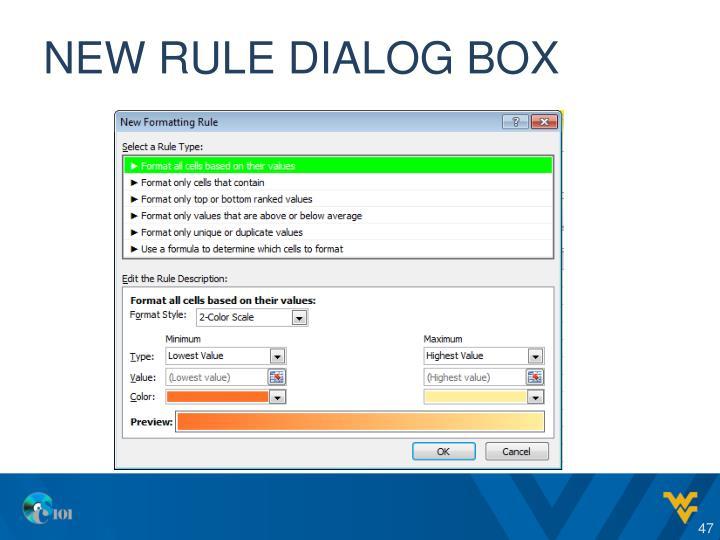 New Rule Dialog Box