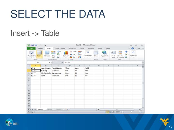 Select the data