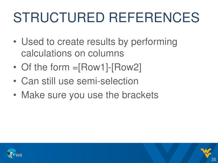 Structured references