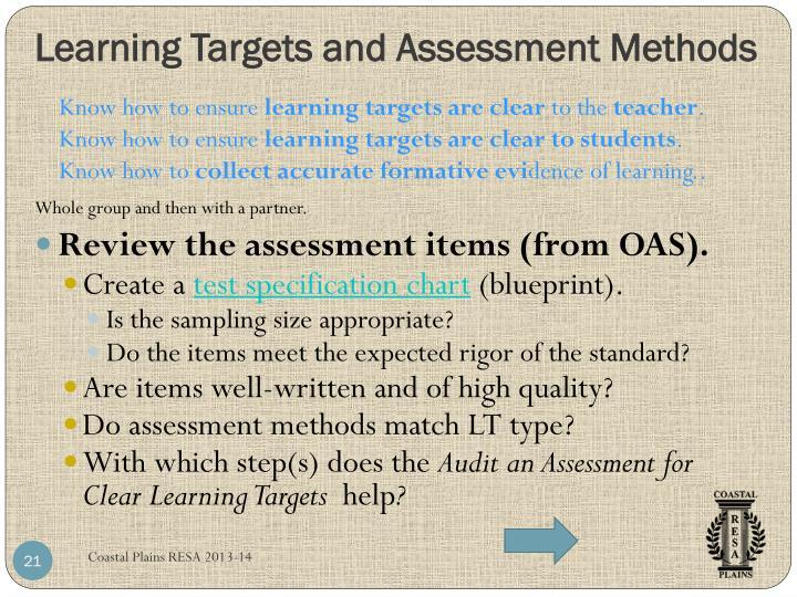 Learning Targets and Assessment Methods