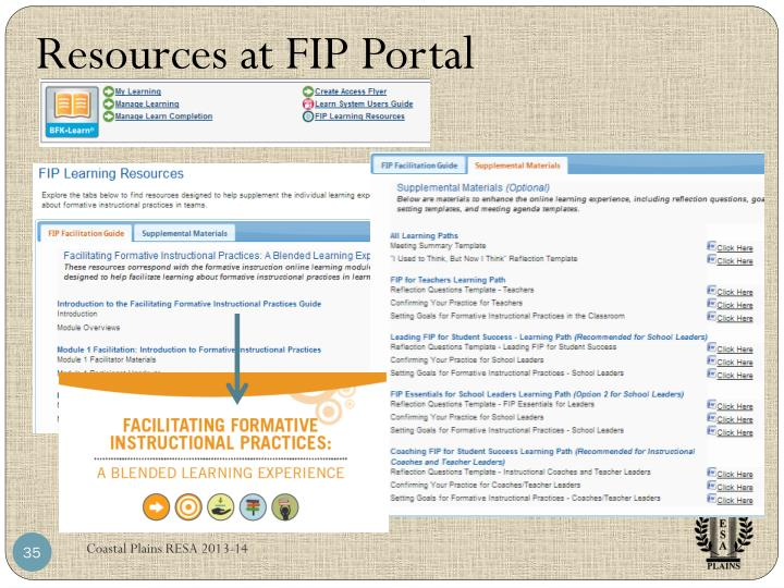 Resources at FIP Portal