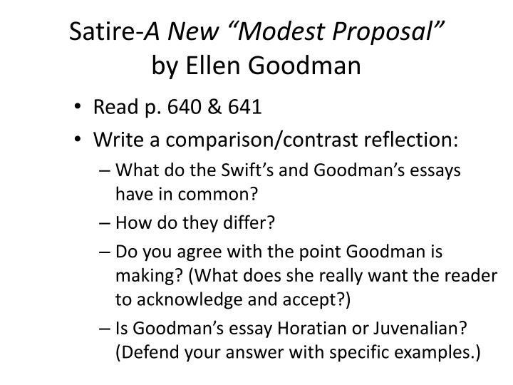 Ppt Satire A New Modest Proposal By Ellen Goodman Powerpoint