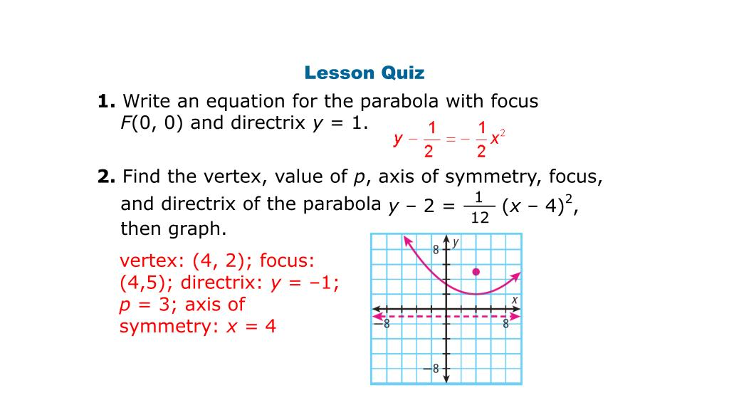 finding vertex focus and directrix of a parabola