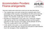accommodation providers finance arrangements