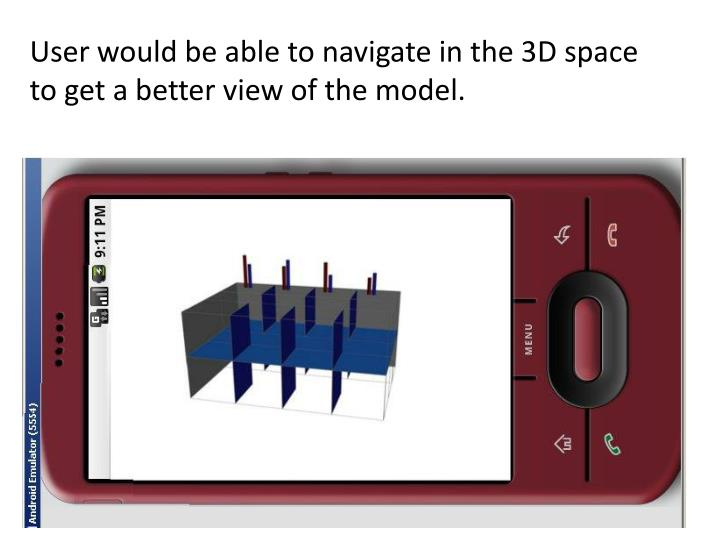 User would be able to navigate in the 3D space to get a better view of the model.