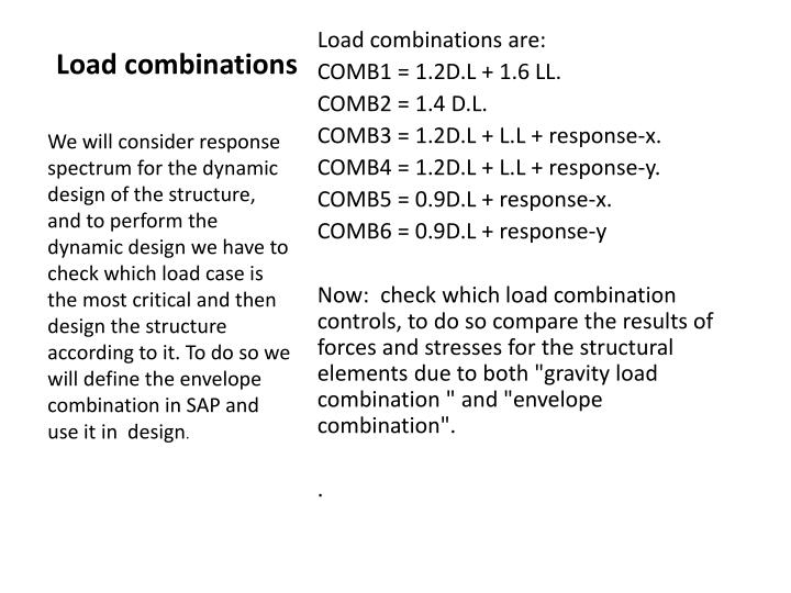 Load combinations