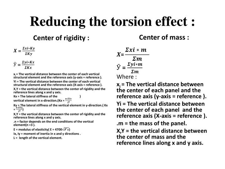 Reducing the torsion effect :