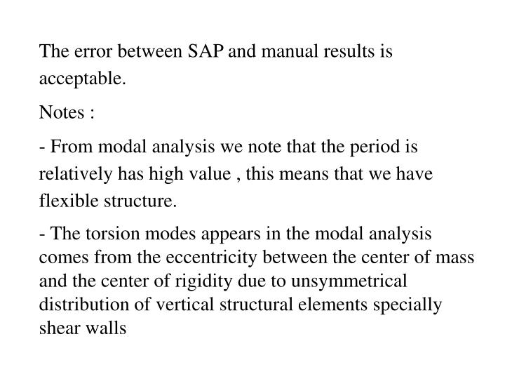 The error between SAP and manual results is acceptable.