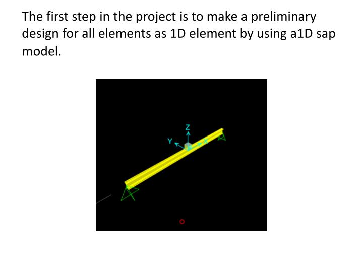 The first step in the project is to make a preliminary design for all elements as 1D element by using a1D sap model.