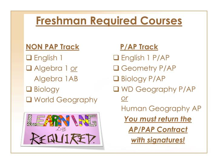 Freshman Required Courses