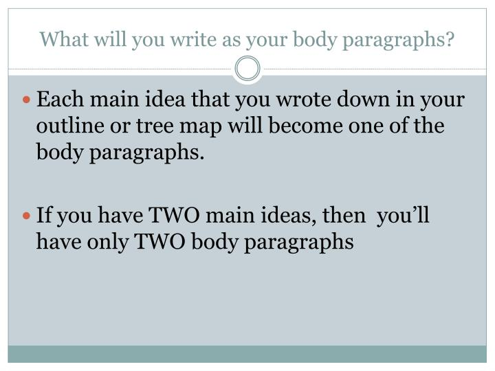 What will you write as your body paragraphs