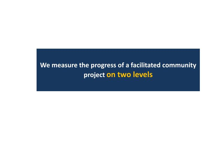 We measure the progress of a facilitated community project
