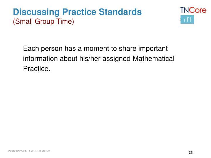 Discussing Practice Standards