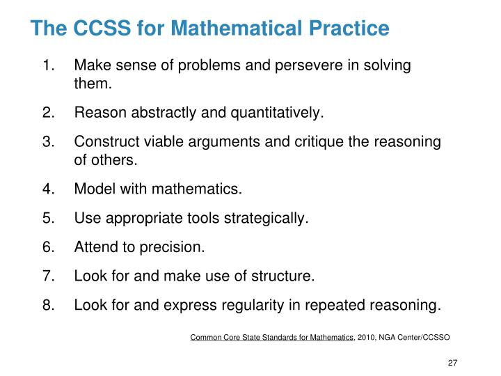 The CCSS for Mathematical