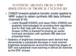 synthetic abi data from a wrf simulation of tropical cyclone sef1