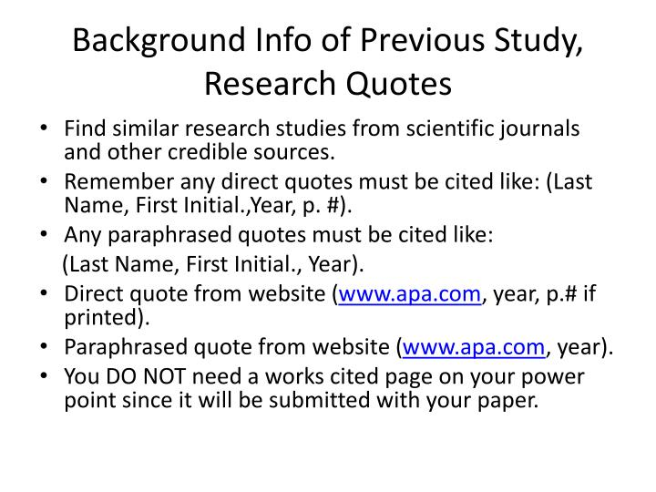 Background info of previous study research quotes