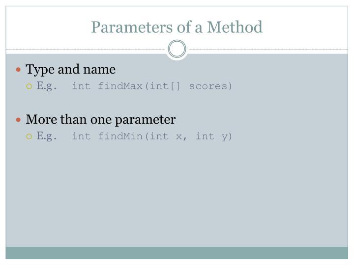Parameters of a Method